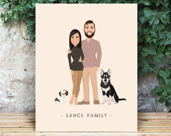 Boho portrait print canvas > Custom gift for husband or wife with earthy hygge color palette, Large couple portrait sign with dogs