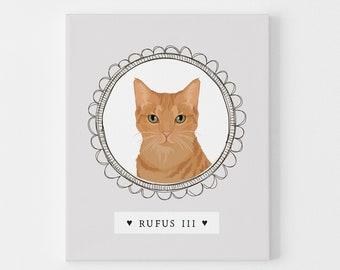 Custom Cat Portrait Drawing Sign > Ginger tabby cat illustration on neutral gray, cartoon pet portrait canvas, unique gift for cat parent