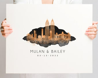 Personalized wedding guest book alternative •  Mumbai skyline wall art gift •Custom city guestbook •Faux copper & black watercolor
