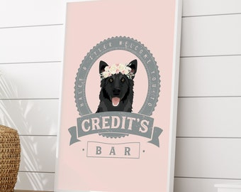 Wedding Pet Portrait Sign > German shepherd canvas art print, custom dog bar wall, gray and blush pet portrait of dog of honor