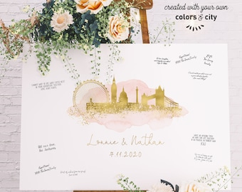 Wedding Guest Book Canvas > London skyline print, Blush watercolor and faux metallic gold poster, Wedding guestbook alternative sign