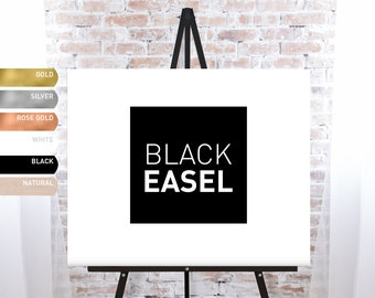 Black Easel for Wedding Signs, Elegant Floor Easel Stand for Formal Wedding Signage or Funeral Sign Stand, Solid Wood Easel - FREE SHIPPING!