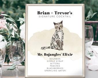 Signature Cocktail Sign > Cat Portrait, Custom Signature Drink Print for Wedding Bar