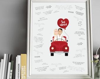 Wedding Guest Book Alternative > Custom Couple Portrait in Car, Personalized Newlywed Cartoon