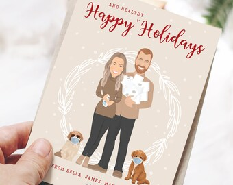 Pandemic Portrait Holiday Cards, Custom Family Portrait Using Hand Sanitizer, Hoarding Toilet Paper and Wearing Masks, Keeping Positive Card