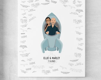 Guest Book Alternative for Wedding > Custom Couple Portrait, Blue Space Travel Theme, Personalized Newlywed Drawing
