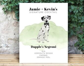 Signature Cocktail Print > Custom Dog Portrait Signature Drink Sign for Wedding Bar