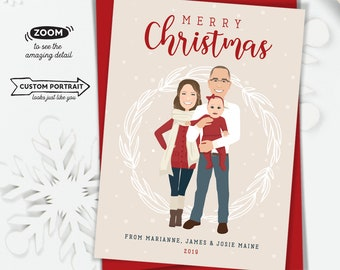 Custom Family Portrait Christmas Card > Cute Holiday Card Idea, Christmas Cards with Custom Family Portrait and Baby Announcement