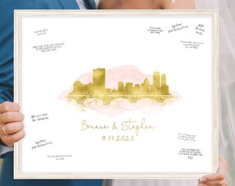 Alternative Guest Book for Wedding > Blush watercolor and faux metallic gold Boston skyline print, Canvas wedding guestbook sign