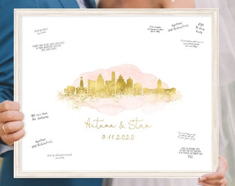 Wedding Guest Book Alternative > Austin skyline sign, Blush watercolor and faux metallic gold guestbook, Canvas print for wedding