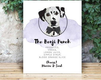 Signature Cocktail Sign with Personalized Dog Portrait > Dalmatian Dog Cartoon on Amethyst Purple Watercolor, Signature Drink Print