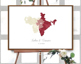 Wedding Guest Book Alternative > Dark Red & Champagne Cream Watercolor Guestbook (Custom Map of Countries, States, or Provinces)