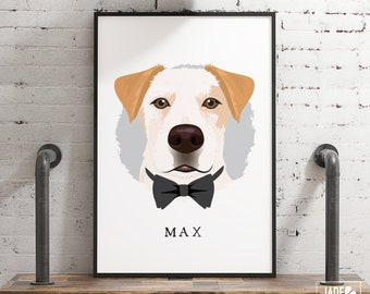Cartoon Pet Portrait with Bow Tie  > personalized dog portrait canvas, custom wall art print, large framed dog drawing from photo