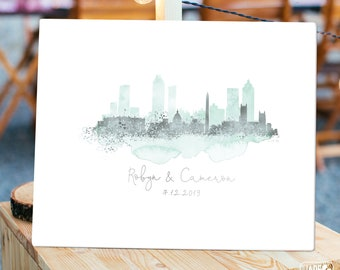 Wedding Guest Book Alternative Sign > Washington DC & Atlanta skyline guestbook • Mint watercolor and faux metallic silver canvas print