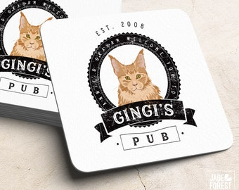 Pet Portrait Drink Coaster > Custom Cat Drawing on Square or Round Coasters, Fun Wedding Favor Idea