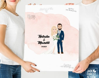 "Watercolor Guest Book Alternative > Custom, Personalized Wedding Portrait of Newlywed Couple with ""Watercolor Train"" Dress"