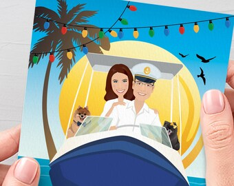 Family Christmas Card, Unique Christmas Cards with Custom Family Portrait on a Boat