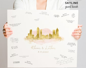 Wedding Guest Book Alternative > Atlanta skyline guestbook, Blush watercolor and faux metallic gold print, Canvas sign for wedding