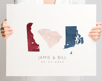 Guestbook Alternative > canvas wedding map guest book sign with 3 states or countries, blush navy and burgundy watercolor state map