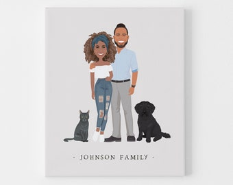 Custom family portrait illustration > Boho drawing from photo with neutral colors and gray background, Large framed couple cartoon with pets