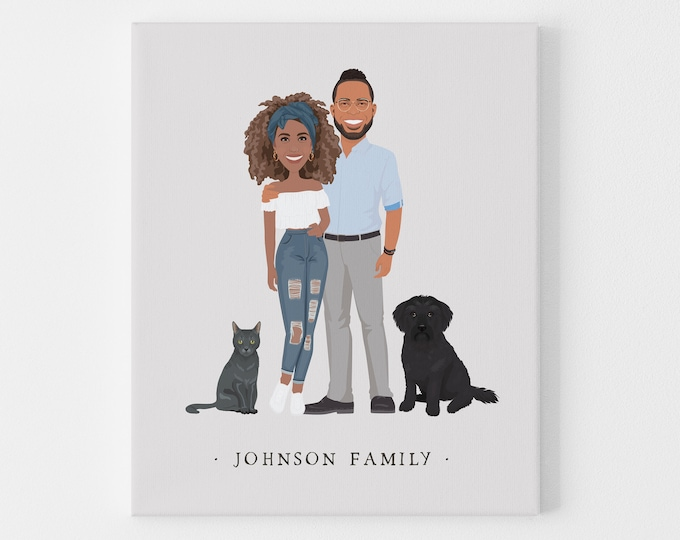 Featured listing image: Custom family portrait illustration > Boho drawing from photo with neutral colors and gray background, Large framed couple cartoon with pets