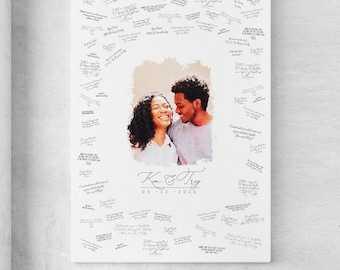 Watercolor Guest Book Alternative > wedding portrait from photo, large framed guest book canvas, custom digital painting portrait