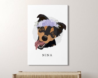 Cartoon Dog Portrait with Flower Crown  > custom pet portrait canvas, personalized pet home decor, large framed pet drawing from photo