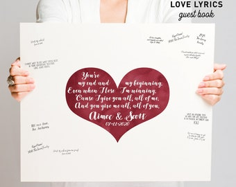 Wedding Guest Book Alternative > Maroon Dark Red Watercolor Heart, Boho Calligraphy Wedding Song Lyrics Canvas Guestbook Sign