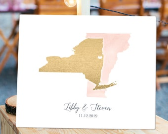 Wedding Guest Book Alternative > Pink blush watercolor & faux metallic gold guestbook canvas, State or country map guest book