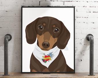 Daschund Mom gift • Custom daschund portrait from photo for dog mom •Personalized pet with vintage tattoo bandana •New pet adoption gift