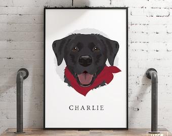 Custom Dog Portrait Cartoon with Bandana  > black lab cartoon canvas, personalized pet home decor, large framed Labrador drawing from photo