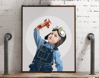 Kid's travel themed room decor for junior pilot. Neutral gray portrait illustration of boy with airplane. Custom gift portrait from photo.