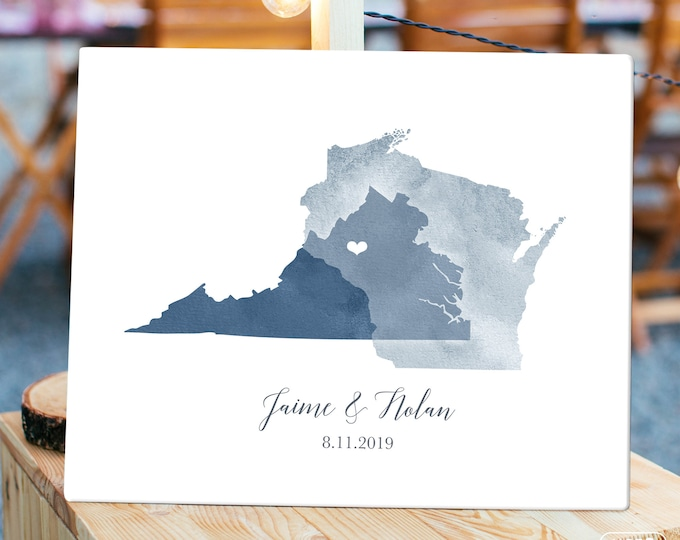 Wedding Guest Book Alternative > Dusty blue watercolor guest book map, Custom countries or states map guestbook
