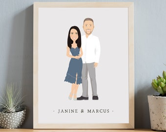 Couple portrait illustration > Custom engagement gift idea, Modern boho drawing from photo, Neutral gray canvas cartoon art
