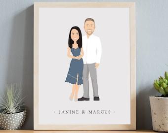 Couple portrait illustration > Custom engagement gift idea, Modern boho drawing from photo, Neutral gray canvas cartoon art