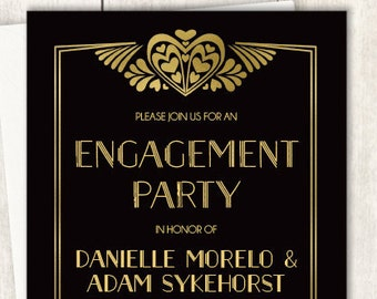 Art Deco Engagement Party Invitation / Great Gatsby, Roaring Twenties, 1920s / Black and Gold ▷ Printed Wedding Invitations {or} Printable