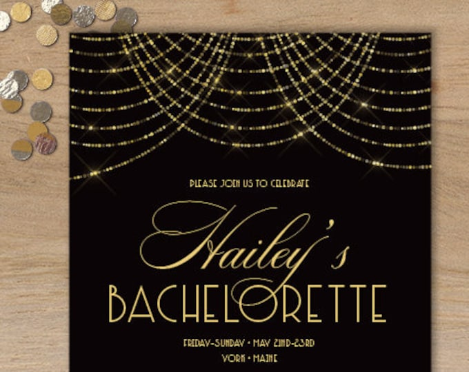 Great Gatsby Bachelorette Invitation / Bokeh Gold Fairy Lights, Black and Gold Art Deco / Party Invite ▷ Printed Invitations {or} Printable