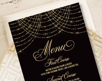 Great Gatsby Menu Card / Wedding Menu / Bokeh Gold Fairy Lights, Black and Gold Art Deco / Dinner Menu ▷ Printed Heavy Paper {or} Printable