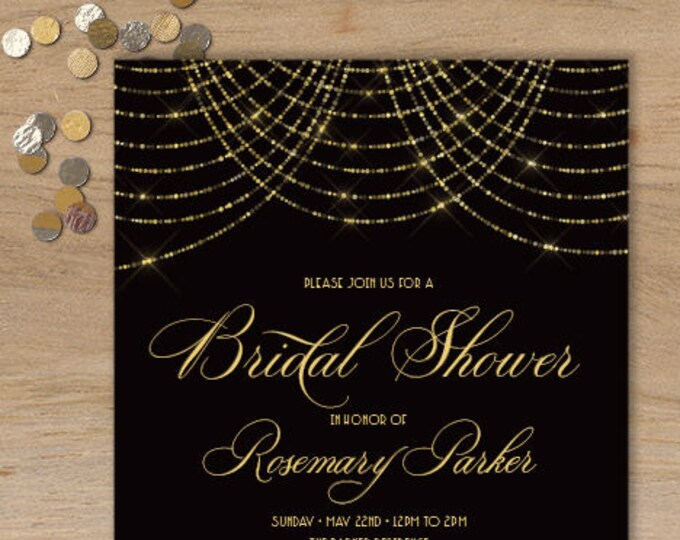 Great Gatsby Bridal Shower Invitation / Bokeh Gold Fairy Lights, Black and Gold Art Deco Party Invite  ▷ Printed Heavy Paper {or} Printable