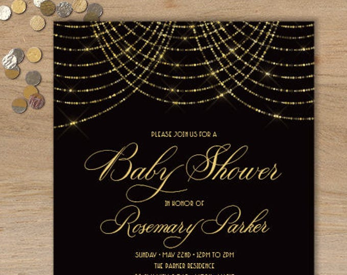 Great Gatsby Baby Shower Invitation / Bokeh Gold Fairy Lights, Black and Gold Art Deco / Baby Invite ▷ Printed Heavy Paper {or} Printable