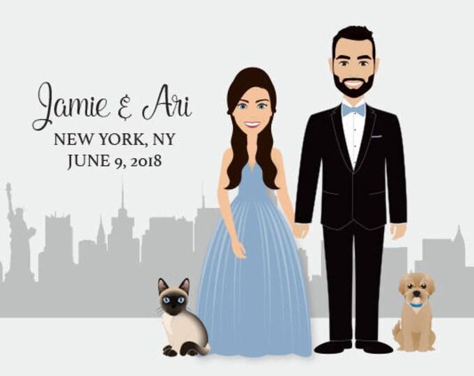 Wedding Guest Book Portrait, Alternative Guest Book Sign, New York Wedding, Custom Portrait Canvas, Siamese Cat