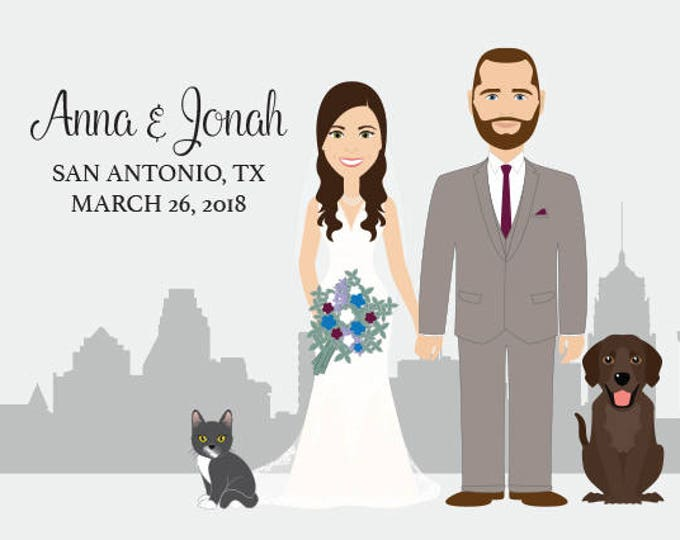 Wedding Guest Book Portrait / San Antonio Skyline / Texas Portrait Guestbook / Custom Illustration ▷ Printed Paper, Canvas {or} Printable