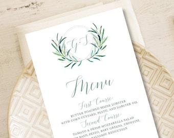 Greenery Menu Card / Wedding Menu / Eucalyptus Crest / Initial Monogram Crest, Eucalyptus, Olive ▷ Printable File {or} Printed & Shipped