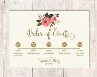 Floral Wedding Schedule of Events DIY / Wedding Itinerary, Timeline, Agenda / Pink Watercolor Rose Flower / Gold and Cream ▷ Printable PDF