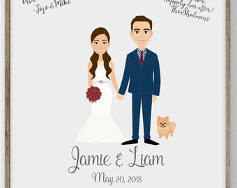 Custom Couple Portrait Illustration Wedding Sign In - Alternative Wedding Guest Book Ideas with Cartoon Couple Portrait on Canvas or Digital