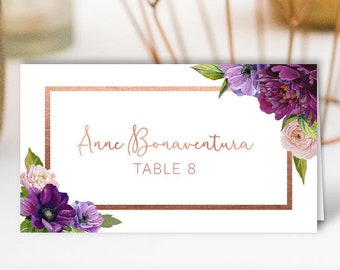Purple Place Cards, Faux Rose Gold Wedding Seating Cards, Purple Flowers Escort Cards, Folded Tent Card > PRINTED Place Cards