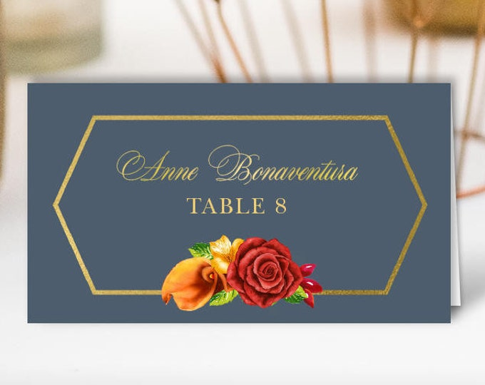Dusty Blue Place Cards, Blue and Gold Fall Wedding Seating Cards, Calla Lilly Flower Escort Cards, Folded Tent Card > PRINTED Place Cards