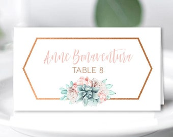Copper Succulent Place Cards, Blush Flower Wedding Seating Cards, Southwestern Cactus Escort Cards, Folded Tent Card > PRINTED Place Cards
