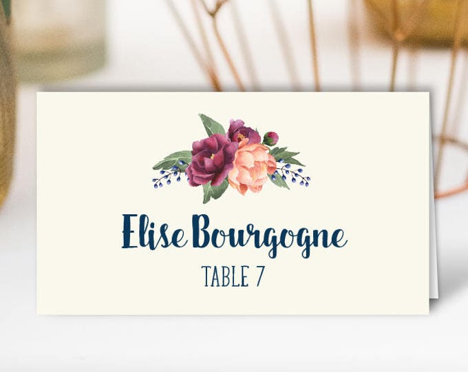Floral Place Cards, Cream, Navy and Burgundy Wedding Seating Cards, Peony Berry Bouquet Escort Cards, Folded Tent Card > PRINTED Place Cards