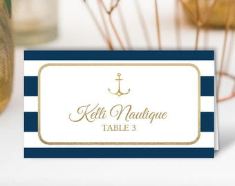 Nautical Place Cards, Gold and Navy Wedding Seating Cards, Stripes Escort Cards, Folded Tent Card > PRINTED Place Cards